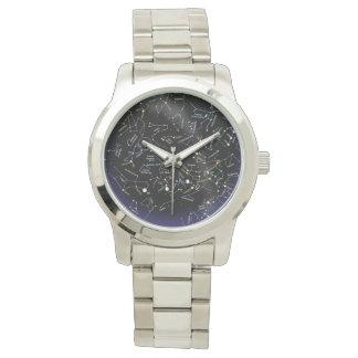 sky map silver bracelet watch