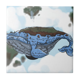 sky whale small square tile
