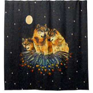 Sky Wolves Wolf Shower Curtain