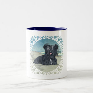 Skye Terrier at the Beach Two-Tone Coffee Mug