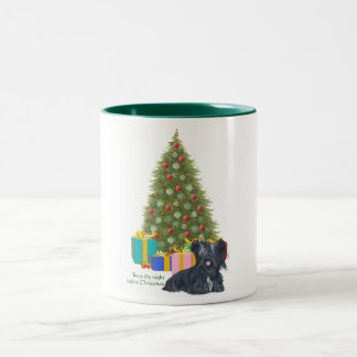 Skye Terrier Christmas Two-Tone Coffee Mug