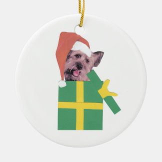 Skye Terrier Green Gift Box Ornament