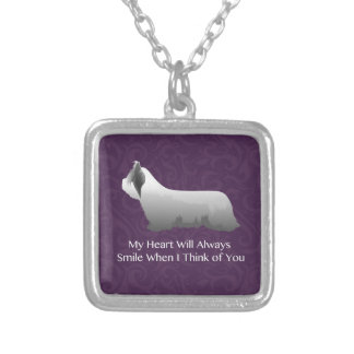 Skye Terrier Thinking of You Design Silver Plated Necklace