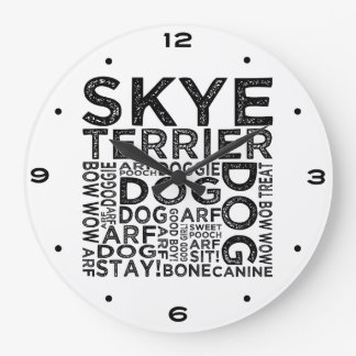Skye Terrier Typography Large Clock