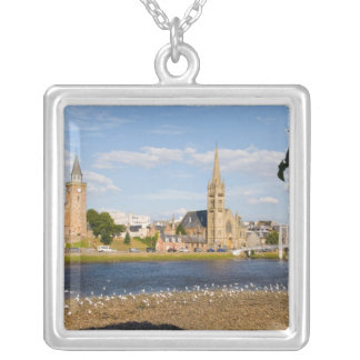 Skyline and river of quaint town of Inverness Silver Plated Necklace