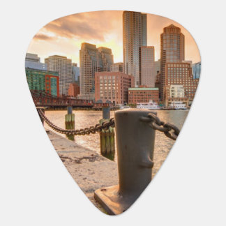 Skyline of Financial District of Boston Guitar Pick