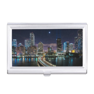 Skyline of Miami city with bridge at night Business Card Holder