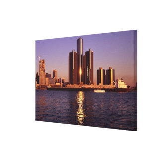 Skyscrapers by the water in Detroit 2 Canvas Print