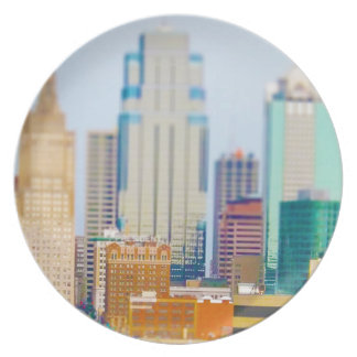Skyscrapers High Rise Downtown Kansas City Skyline Plate