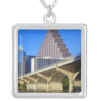 Skyscrapers of Downtown Austin and Colorado Silver Plated Necklace