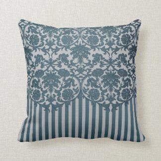 Slate Blue and Gray Damask Stripe Pattern Cushion