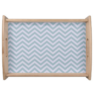 Slate Blue and Lavender Chevron Serving Tray