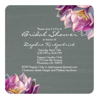 Slate Floral Bridal Shower 13 Cm X 13 Cm Square Invitation Card