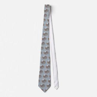 Slate Gray Nuthatch Songbird Seasons Greetings Tie