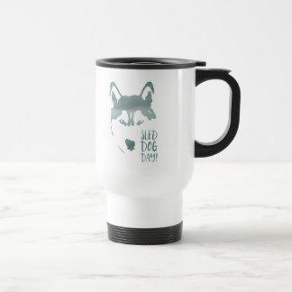 sled dog day stainless steel travel mug