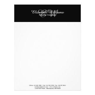 Sleek Black Initial Custom Elegant Letterhead 21.5 Cm X 28 Cm Flyer
