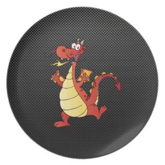 Sleek Cartoon Dragon Dinner Plate