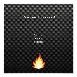 Sleek Fire Flame 5.25x5.25 Square Paper Invitation Card