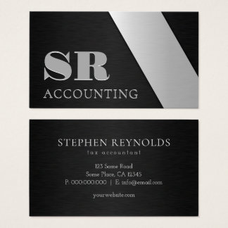 Sleek Professional Black and Silver Brushed Stleel Business Card