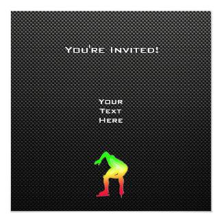 "Sleek Speed Skater 5.25"" Square Invitation Card"