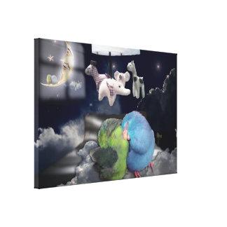 Sleeping Birds Childrens Room Parrotlet Canvas Art