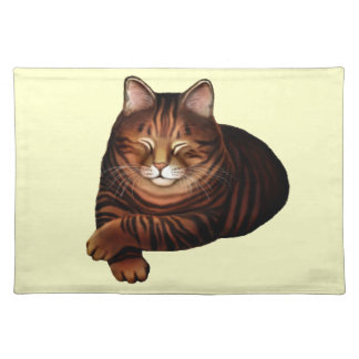 Sleeping Brown Tabby Cat American MoJo Placemat