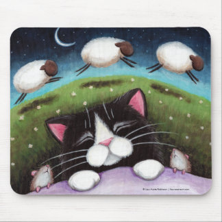 Sleeping Cat and Mice Dreaming of Sheep Mousepad