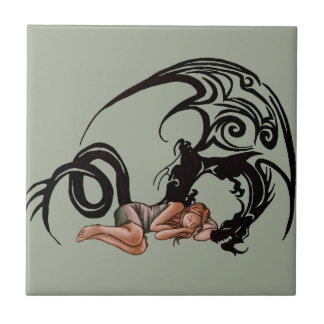 Sleeping Girl with Dragon Cartoon Drawing Small Square Tile