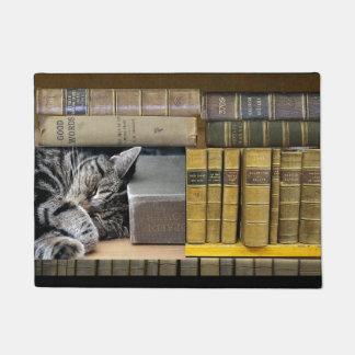 Sleeping Library Book Cat Doormat