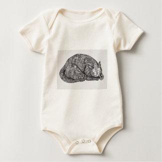 sleepy cat baby bodysuit