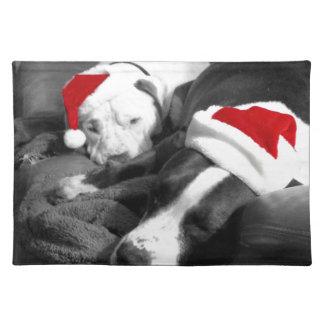 sleepy christmas pitbull puppies adorable santa placemat