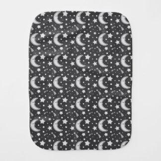 Sleepy Moon - Dark grey baby burb cloth