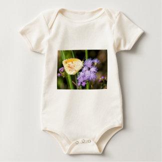 Sleepy Orange Butterfly on Ageratum Wildflowers Baby Bodysuit