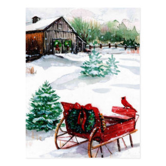 Sleigh and Red Robin Postcard