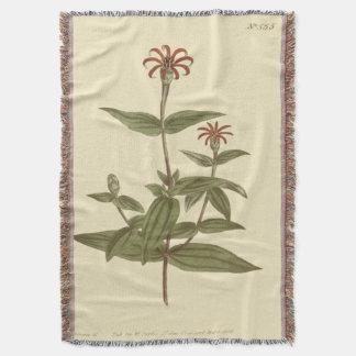 Slender Flowered Red Zinnia Illustration Throw Blanket