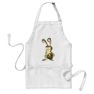 Slightly bemused Easter Bunny and basket of eggs Standard Apron