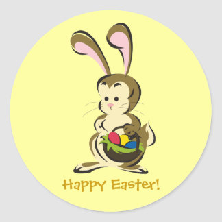 Slightly bemused Easter Bunny and basket of eggs Round Sticker