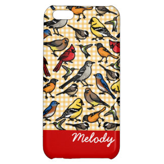 Small Backyard Birds on Gingham, Personalized Case For iPhone 5C