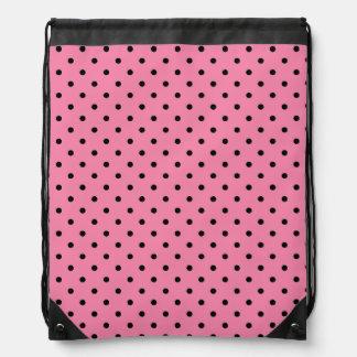 Small Black Polka Dots on hot pink Drawstring Bag