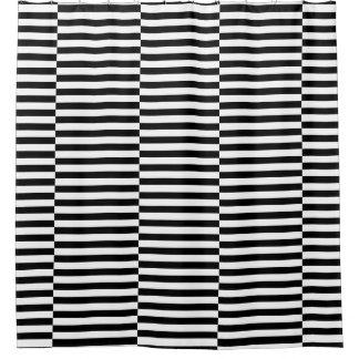 Small Black White Stripes Pattern Shower Curtain