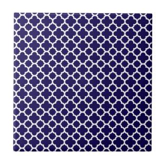 Small Clover Quatrefoil Pattern Cobalt Blue Small Square Tile