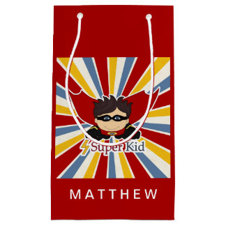 SMALL Comic Book Theme in Red for a Superhero Boy Small Gift Bag