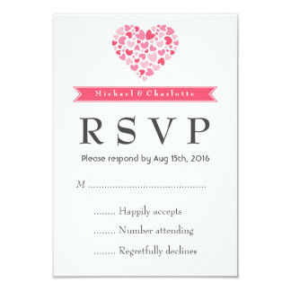 Small Hearts Pink and White Wedding RSVP Card