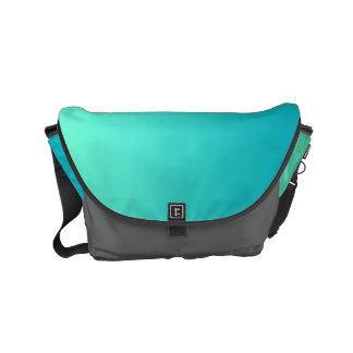 """Small Messenger Bag: """"TURQUOISE OMBRE & GRAY"""" Commuter Bags"""