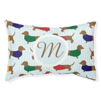Small Monogram Cartoon Dachshunds Pattern Dog Bed