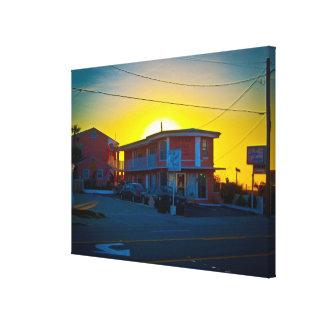 Small Motel On The Beach At Sunrise Canvas Print