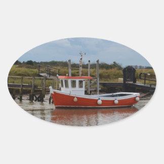 Small Orange Fishing Boat Oval Stickers