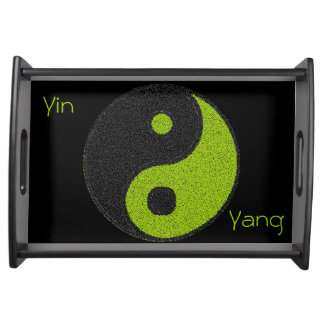 Small Plates of service Black, Yin Yang Black/Gree Serving Tray