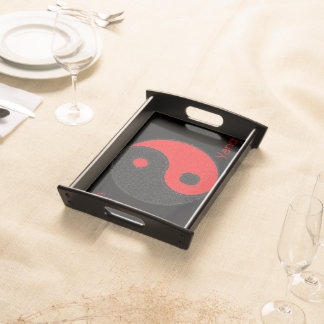 Small Plates of service Black, Yin Yang Black/Red Serving Tray