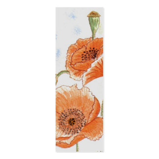 'Small Poppies' Small Bookmark Business Card Template